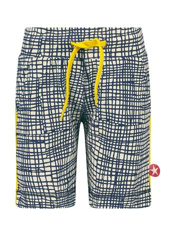 Trouser short print d.blauw/off white