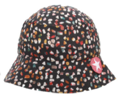 Hat tiba rand woven black dot