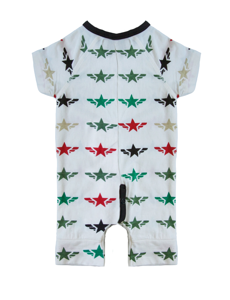 Romper short jersey print star wings - white
