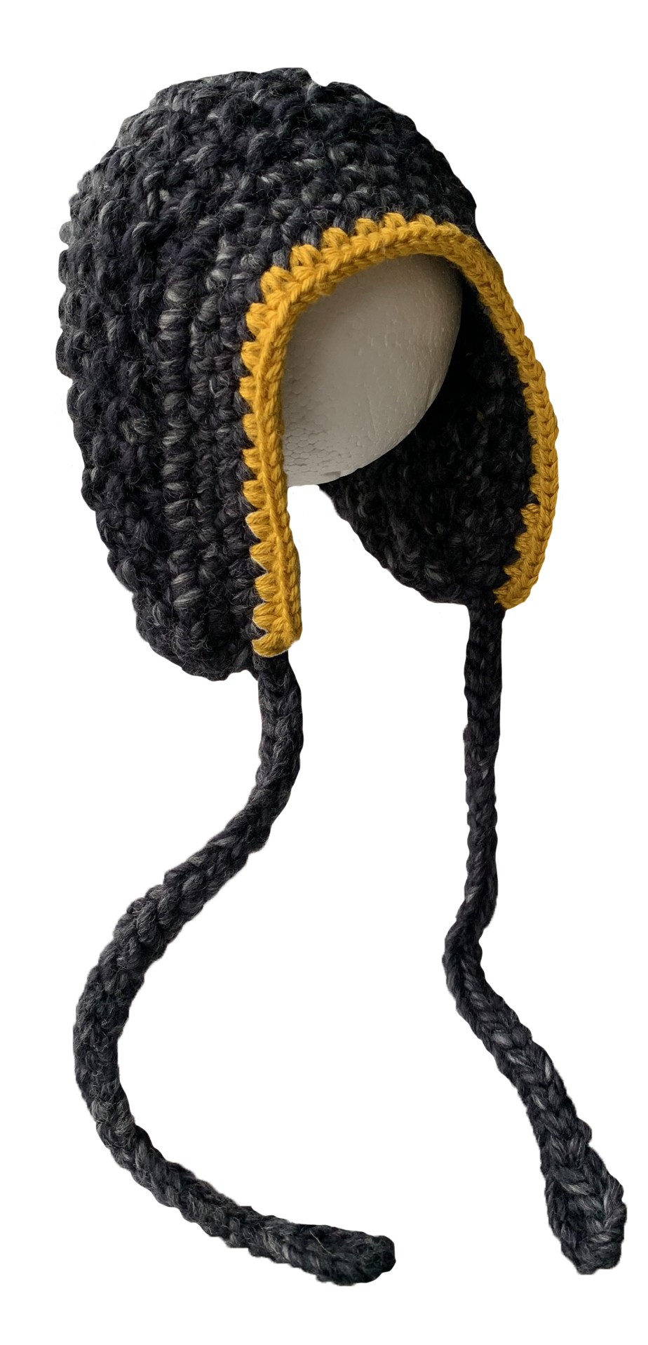 Hat Knitted bol - black-grey-yellow