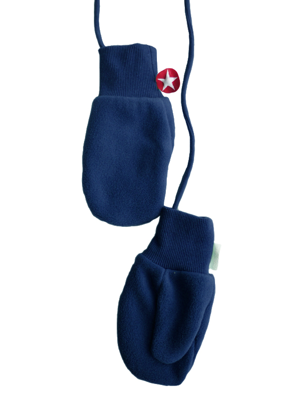 Mittens solid fleece dblue