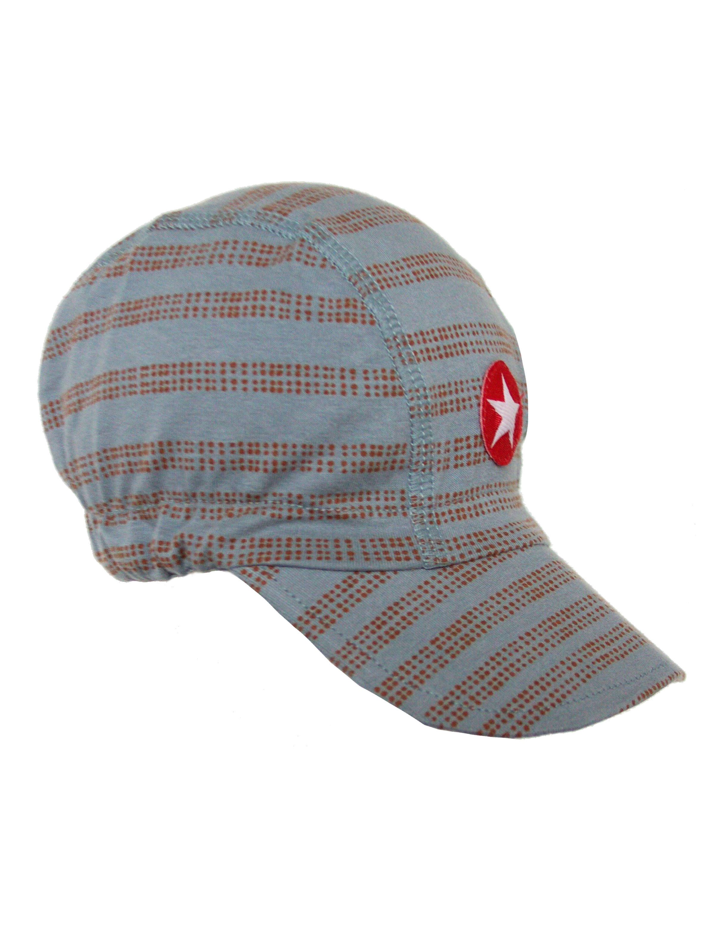 Hat cap jersey print stripe dots -  light blue / brown