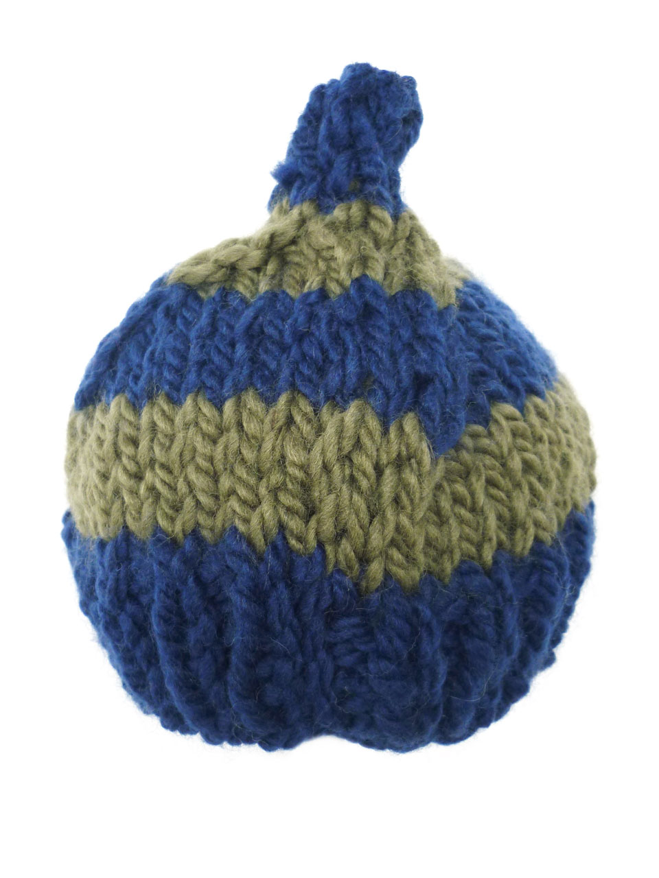 Hat puntje stripe knitted - dblue/green