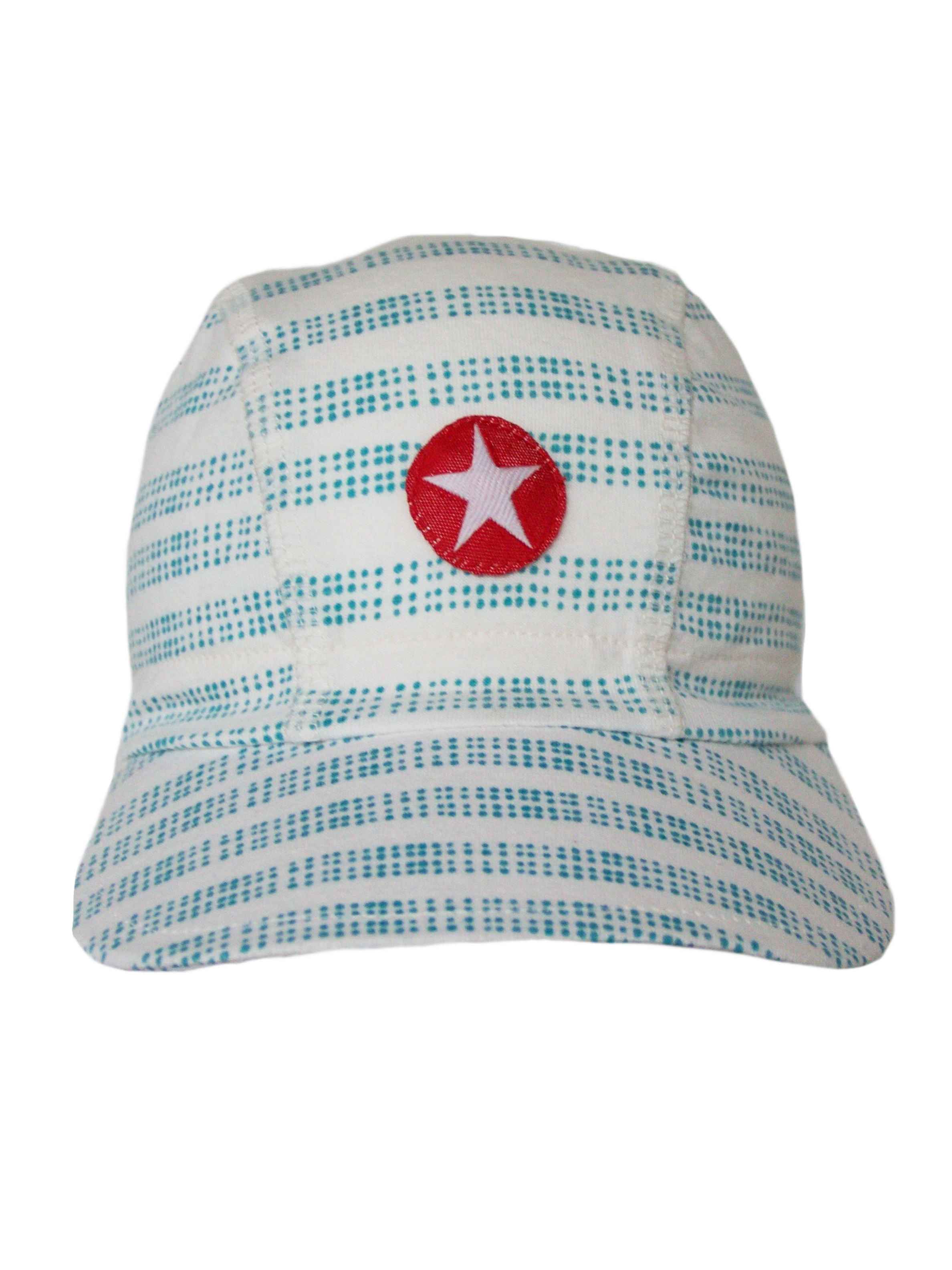 Hat cap jersey print stripe dots - white/blue
