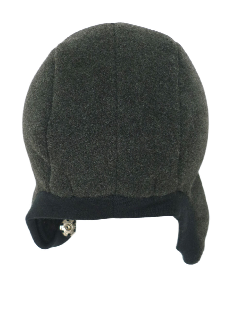 Hat speedy button fleece/fur - black/grey