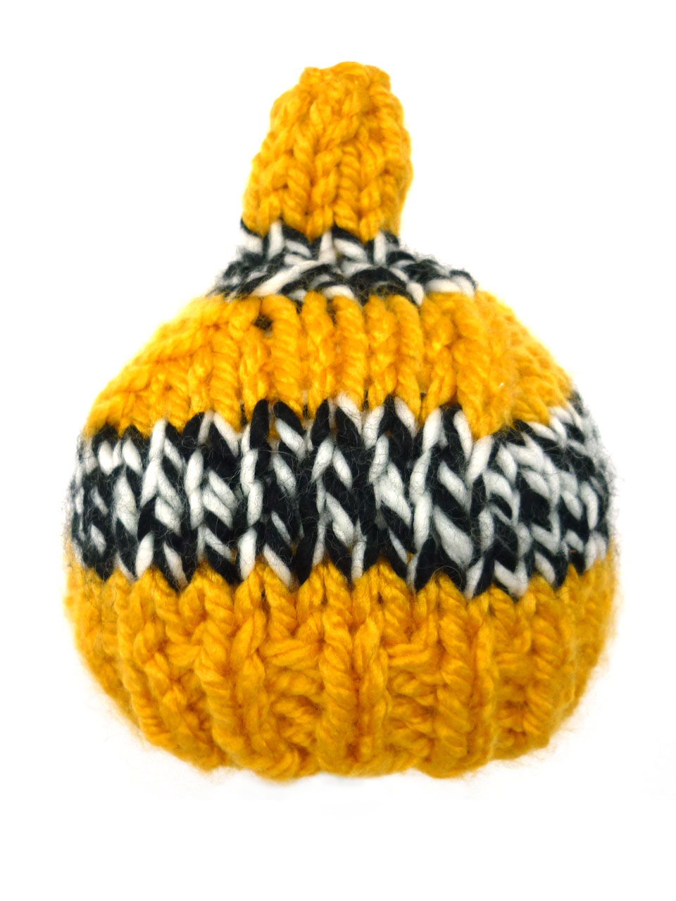 Hat puntje stripe knitted -  yellow/black