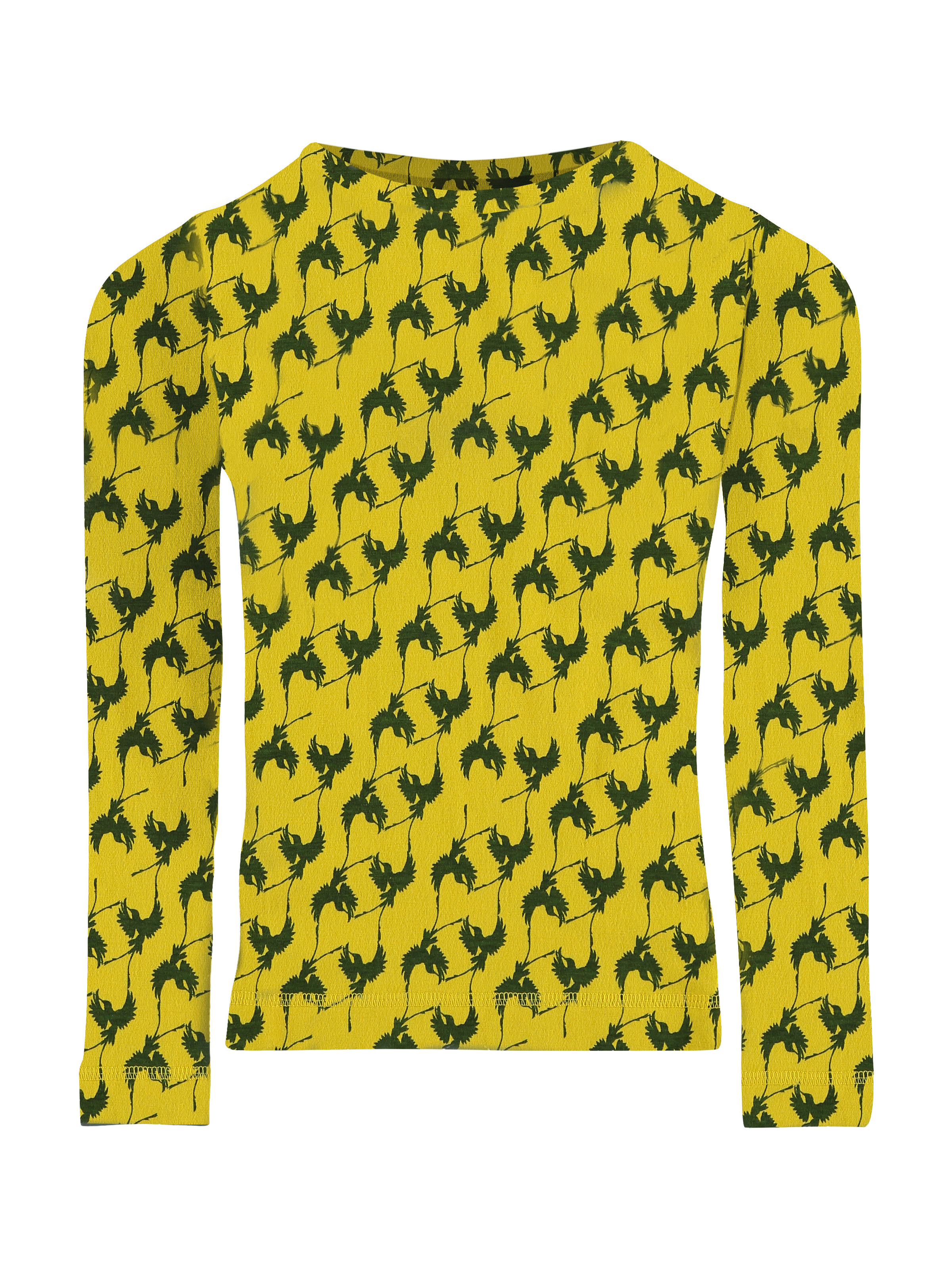 Shirt print jersey long - yellow print